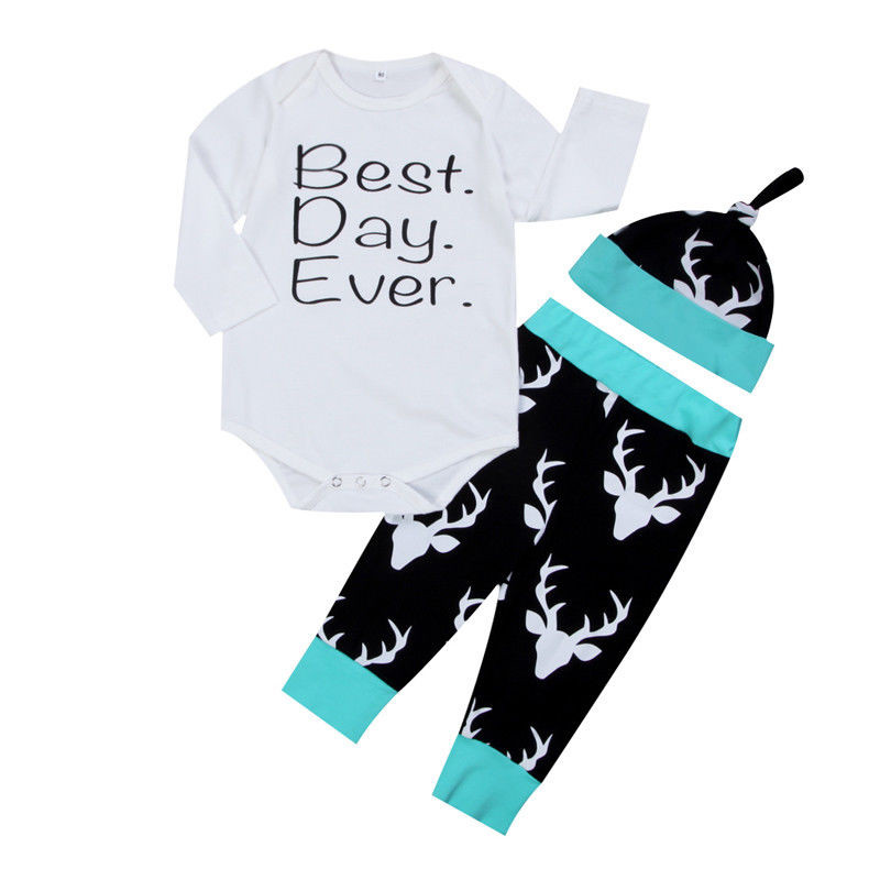 best day ever romper jumpsuit top pants hat outfits 0 24m 3pcs newborn infant christmas clothes set baby boys girls in clothing sets from mother kids