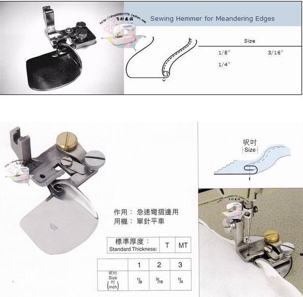 Machine à coudre industrielle liant plat voiture en mousseline de soie courbe sertissage pied ourlet courbé curling presser pieds extracteur
