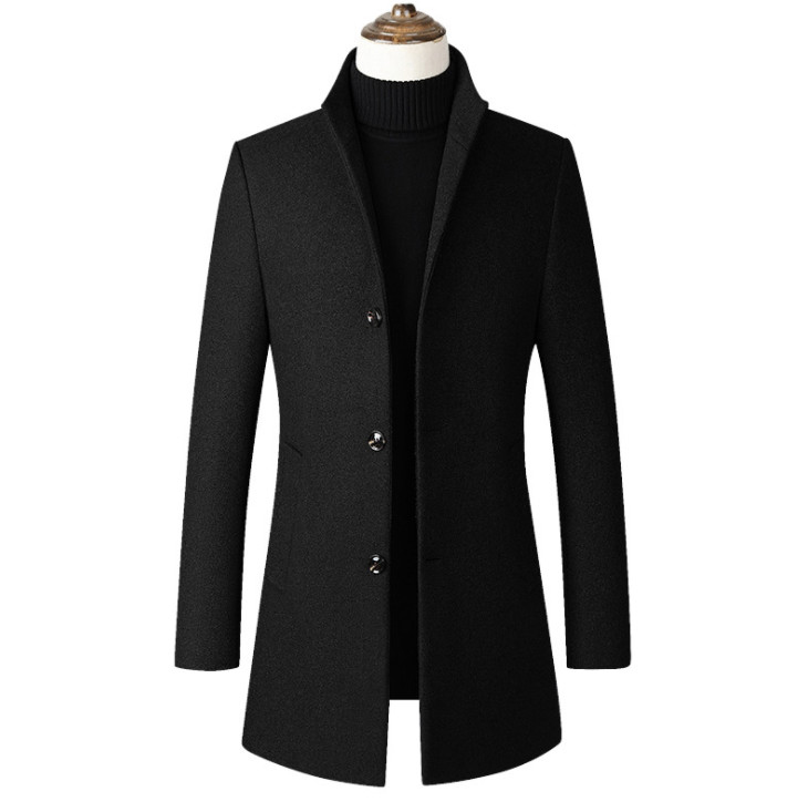 Fashon Men Wool Jacket Men's Casual Wool Coat Slim collar wool coat Men's long cotton collar trench coats(China)