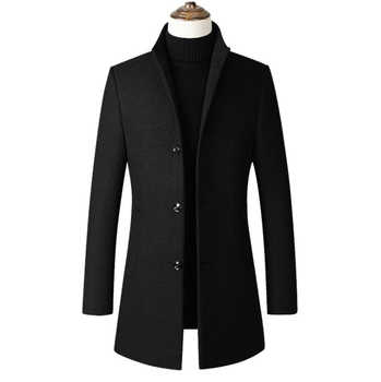 Fashon Men Wool Jacket Men's Casual Wool Coat Slim collar wool coat Men's long cotton collar trench coats dropshipping Z 902 - DISCOUNT ITEM  12% OFF All Category