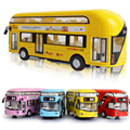 1:32 Aleación Diecast Modelo de Coche de Juguete autobús de Dos Pisos de Metal En Miniatura Escala Modelo de Emulación de Sonido y Luz Eléctrica Tire Hacia Atrás
