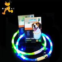 Adjustable Flashing LED Small Medium Big Large Pet Dog Collar Pitbull Golden Retriever Luxury Glowing USB