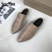 SexeMara Fashion Luxury Design Pointed Toe Women S Slippers Sandals Genuine Leather Flip Flops Female Pure