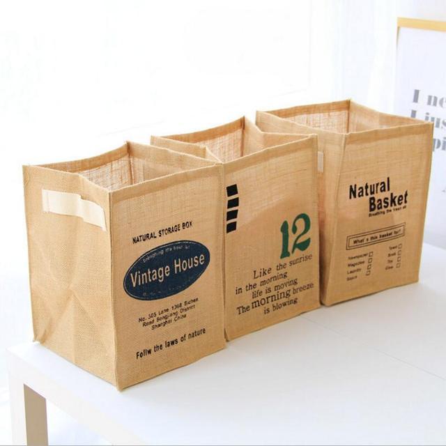 Foldable Waterproof Makeup Cosmetic Storage Box Organiser Jute Storage  Barrel Book Office Supplies Toy Storage Basket