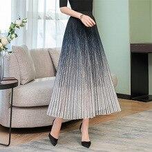 Модная женская шикарная длинная юбка Aline с градиентной рампой, роскошная плиссированная, высокая талия, Офисная Женская юбка, эластичная талия, 50 S, юбка-пачка