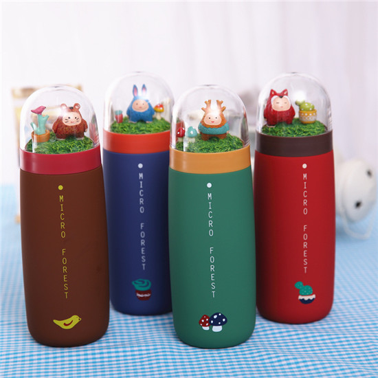 450ml 2016 student Back To School Cartoon Stainless Steel Mug micro Warm Forest Cup Couple Lovely
