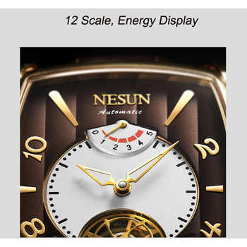 Nesun Tourbillion Automatic Mechanical Watch Skeleton Watch Men Luxury Brand Men\'s Watches Waterproof relogio masculino N9039-2
