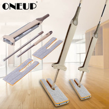 ONEUP самоотжимная двухсторонняя плоская швабра, ручная мойка, деревянный пол, телескопическая ручка, Швабра, чистящее средство для гостиной кухни