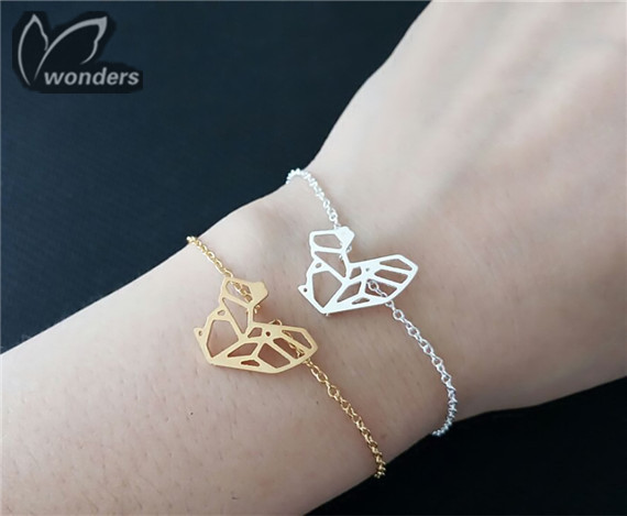 Fashion Origami Squirrel Charm Animal Shape Bracelets Bangles Women Stainless Steel Jewelry Gold Silver Plated Bff