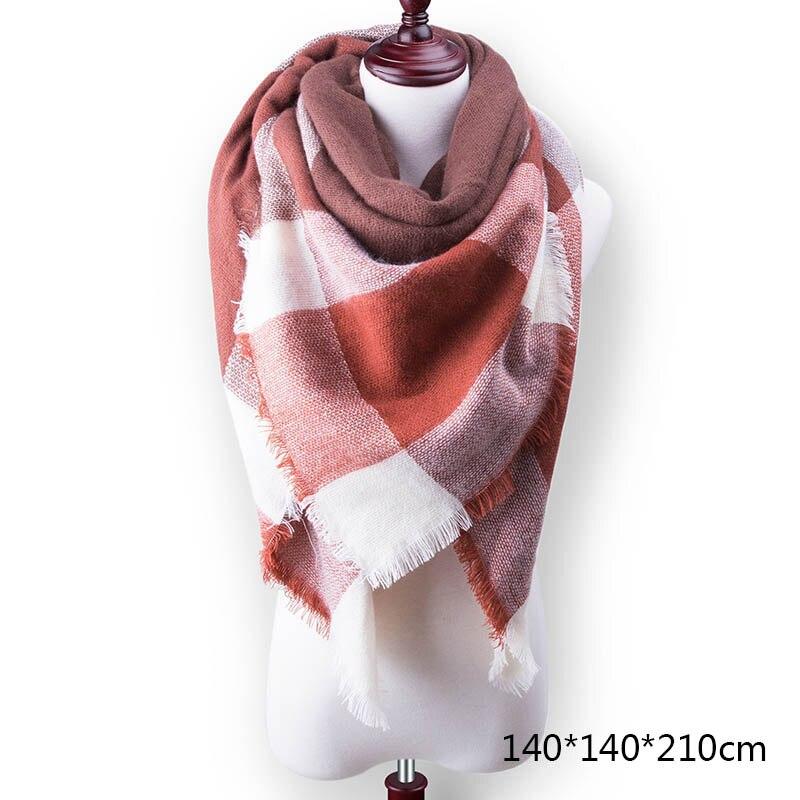 Горячая Распродажа, Модный зимний шарф, Женские повседневные шарфы, Дамское Клетчатое одеяло, кашемировый треугольный шарф,, Прямая поставка - Цвет: A11