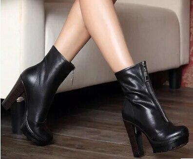 цена на Plus:34-40 Autumn Fashion cowhide female front zipper martin boots ultra high thick heels platform women shoes work Ankle pumps