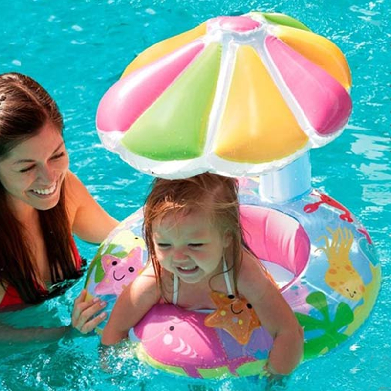 US $19.64 39% OFF|For Kids 3 6 Year Old New Design Baby Lovely Swim Seat  Floating Ring With Umbrella Infant Inflatable Swimming Accessories A012-in  ...
