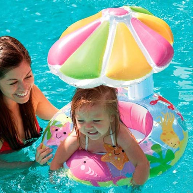 For Kids 3-6 Year Old New Design Baby Lovely Swim Seat Floating Ring With Umbrella Infant Inflatable Swimming Accessories A012