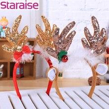 Merry Christmas Reindeer Headband Horns Cosplay Antlers Party Decor Deer Ears Hair Accessories Favors