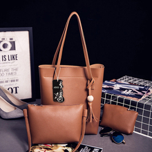 JOOZ Brand Tassel PU Leather Women Handbag 3 Pcs Composite Bags Set Female Shoulder Crossbody Messenger Bags Purse Clutch Wallet