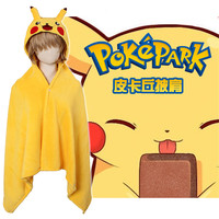 2017 Pocket Monster Soft Thicken Cape Kawaii Pikachu Coplay Cloak Yellow Coral Fleece Hooded Blanket Air condition Wrap Blankets