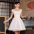 2016 New arrival coreano estilo bonito vestido de baile com arco e da luva do tampão elegante mulheres fshion projeto curto do regresso a casa do vestido