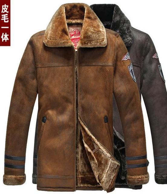 Аутентичные мех кожаная одежда мужская замши Меховой воротник Кожаной куртки мужчины Сгущает Нагрудные теплый свободные Большой размер jaqueta де couro