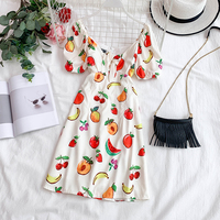 2019 new fashion women's Dress sweet fruit watermelon strawberry cherry print V neck lace puff sleeve dresses