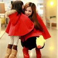 2015 family warm coat mother/daughter Faux Fur Shawl Wool Hooded Poncho Batwing Half Sleeve Cape Coat Winter Jacket Cloak Poncho