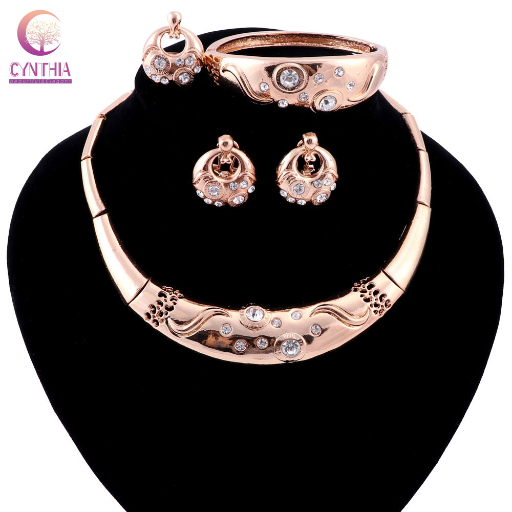 African Beads Jewelry Sets Women Wedding Gold color Crystal Party Fashion Bridal Necklace Ring Earrings Bangle Accessories