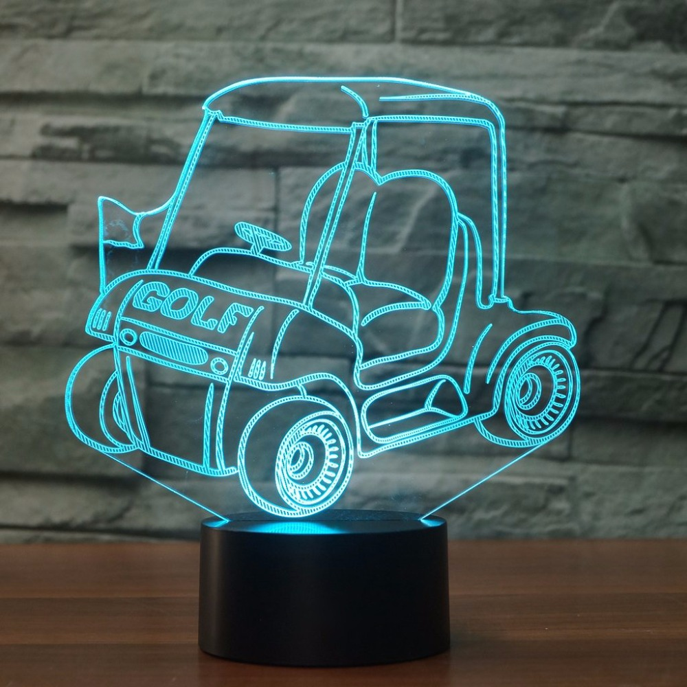 Golf Car LED 3D Night Light Cart 7 Color Change USB Touch Switch lamp Bedroom Decoration 3D Table Lamp Kid Creative Gift