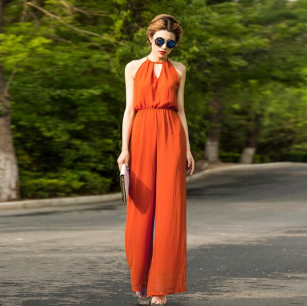 Jumpsuit   for Women 2018 Summer Party Overalls Rompers Chiffon Bohemian Elegant Orange Full Length Bodysuit Plus Size 3XL 4XL