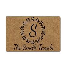 все цены на Custom Family Name Personalized Doormat Wreath Letter Monogram Door Mat Rubber Non-Slip Entrance Rug Floor Mat Welcome Mat Home онлайн