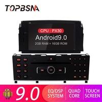 TOPBSNA 1 din Android 9.0 Car DVD Player For Mercedes Benz C200 C180 W204 2007 2010 Car Stereo GPS Navi Car Radio RDS Headunit