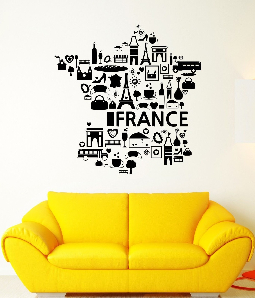 Wall Decal France The Eiffel Tower Wine Croissant Cheese Vinyl ...
