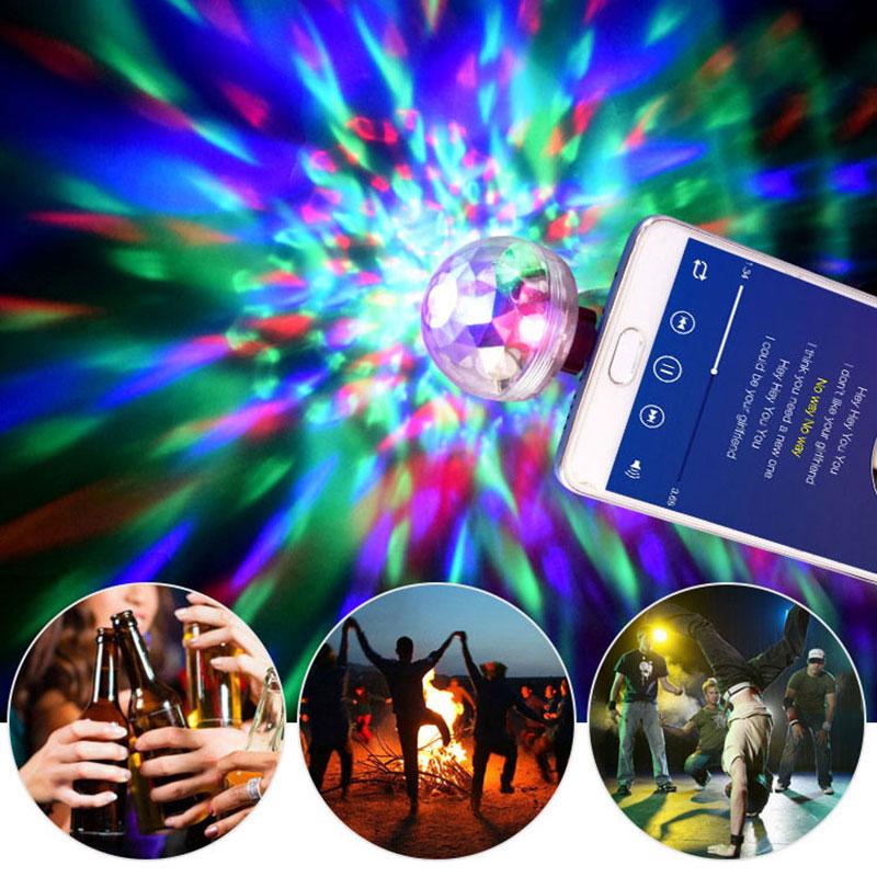 Mini USB Magic Ball LED Colorful Light For Mobile Phone Car Decoration Auto Rotating Bulbs LED Disco Lamps