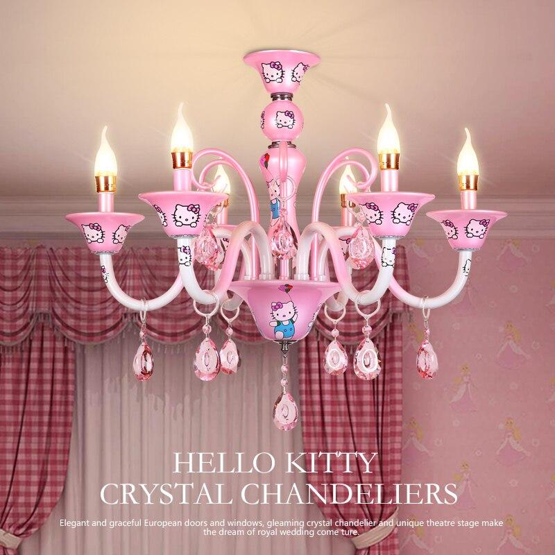 GMTM Nouveau Design Moderne Petite Fille Salon Lustre Chambre Lampe  éclairage Rose Bonjour Kitty Cristal Lustre E14 Bougie Lumière Dans Lustres  De Lumières ...