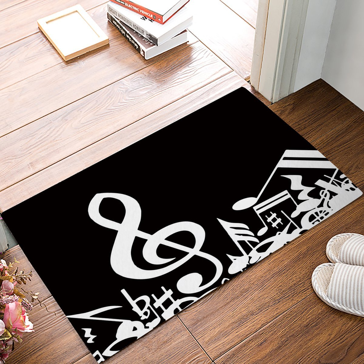 White Kitchen Floor Mats: Custom Melody Black And White Musical Notes Door Mats