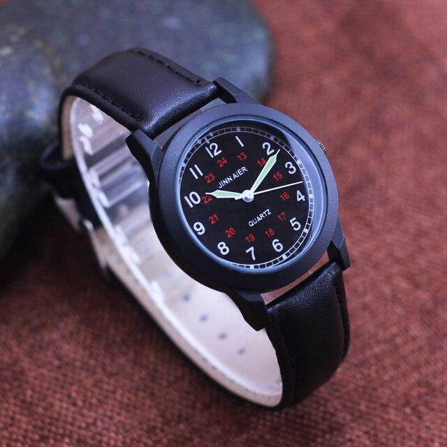 2018 new men boys leather strap fashion quartz luminous hands wristwatches stude