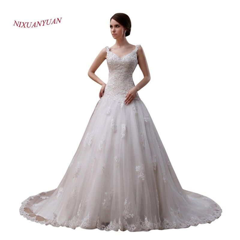 NIXUANYUAN Luxury Lace Bride Wedding Gown 2017 Spaghetti Straps Appliques Beaded Wedding Dress 2017  Tulle vestido de noiva