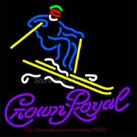 Crown Royal Logo Surfboard Neon Sign Store Display Handcrafted Neon Bulbs Real Glass Tube Neon Bar