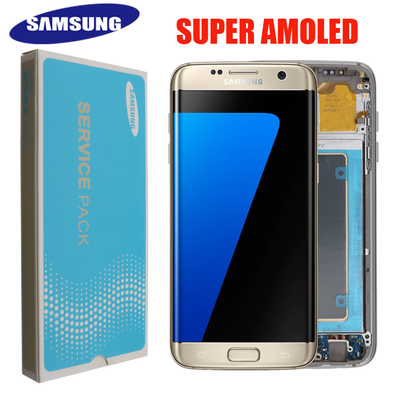 SUPER AMOLED 5 5 display with frame for SAMSUNG Galaxy s7 edge G935F LCD Display Screen