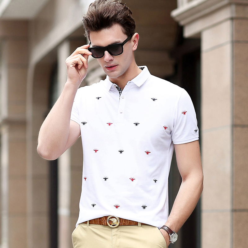 2019 New Fashion Brand Shirts   Polo   Men Top Grade Summer Slim Fit With Short Sleeve Black British Style   Polos   Casual Clothes