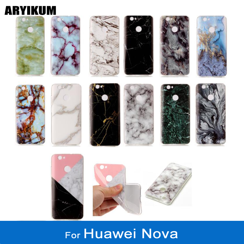 ARYIKUM Silicone Case For Huawei Nova l11 can-l11 can-l01 32GB Dual Sim Marble TPU Phone Back Cover Coque For Nova Huawei Funda