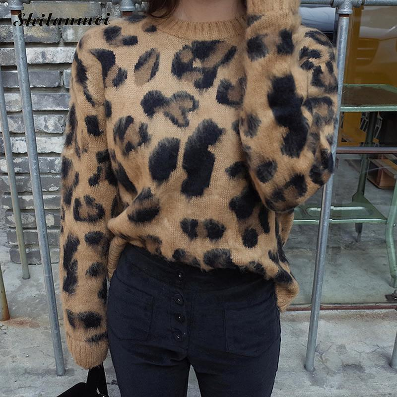 Women's Leopard Sweater Fashion Brown Casual Print Pullovers Sweater O-Neck Knitted Sweater New 2019 Top Knitwear Sweater Ladies