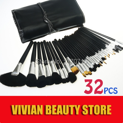 2015 Hot Animal Hair Professional Makeup Brush Set 32PCS Makeup Brushes Cosmetics Brushes Including a Deluxe Leather Bag!