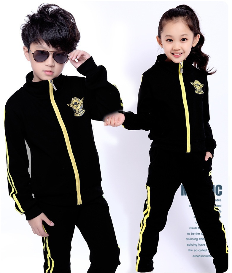ФОТО New autumn/winter children's clothing  sets for girls and boys sport clothes fit for 100cm to 150cm height coat and trouser