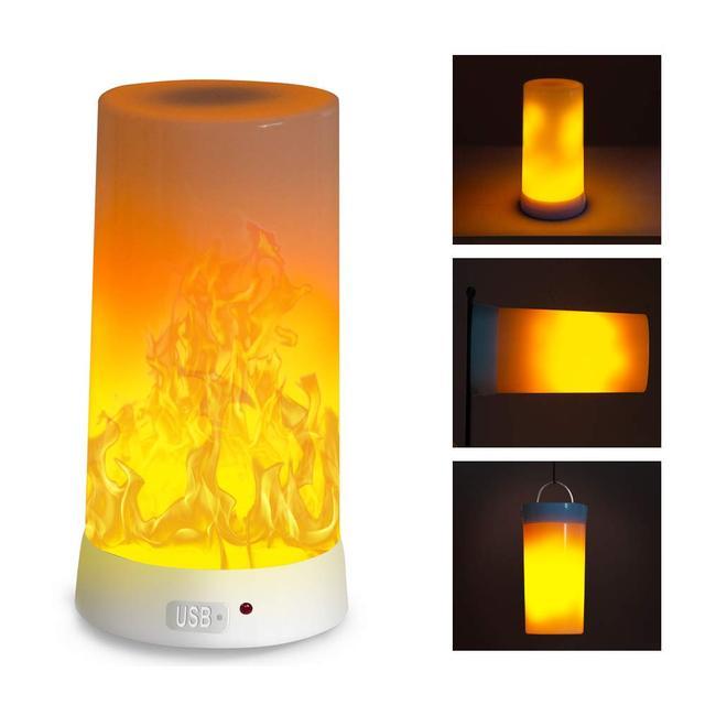 Đèn Led Ngọn Lửa Hiệu Ứng Cháy Bóng Chống Nước Ngoài Trời Trong Nhà Nhấp Nháy Thi Đua 3 Chế Độ Từ Led Ngọn Lửa Đèn Sạc USB