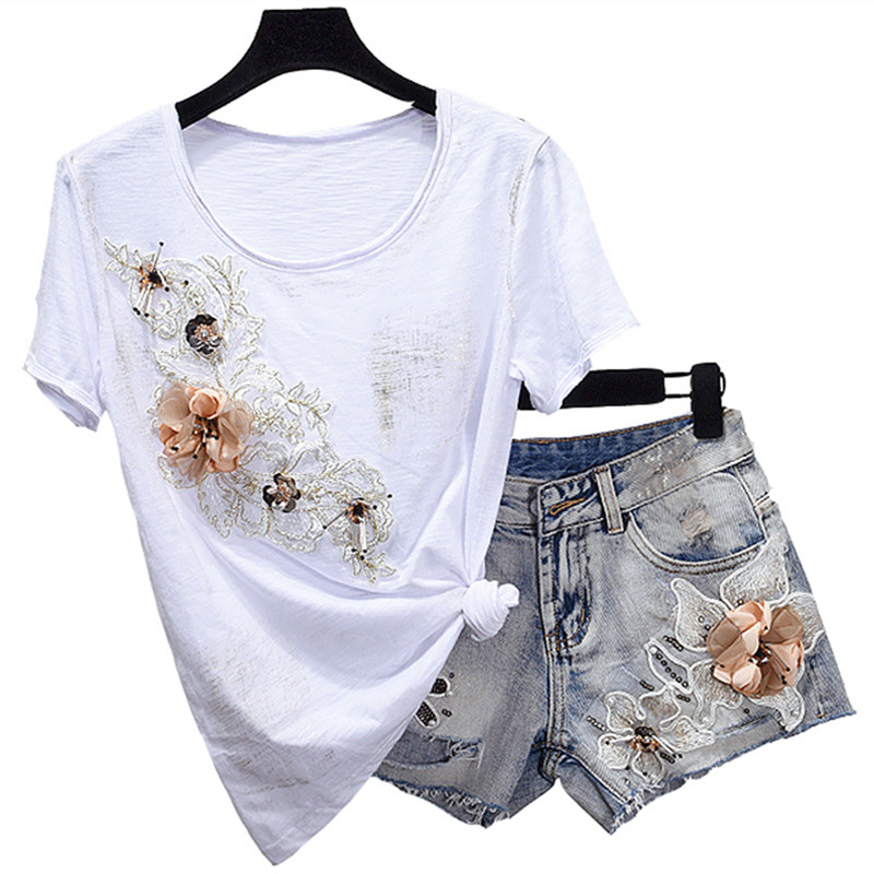 Denim Shorts Pants Suits 2018 Women Summer Diamond Beading 3D Flower Cotton Tshirt Tops Short Jeans