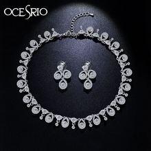 OCESRIO 3 UNIDS Hoja de Plata Joyería Nupcial Rhinestone Pendientes Cristalinos de La Boda de Lujo Vestido de Boda Jewerly nke-n26