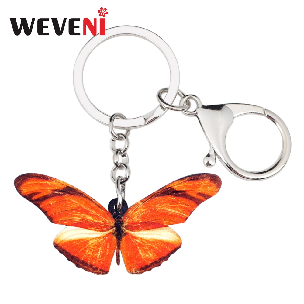 WEVENI Statement Acrylic Orange Butterfly Insect Key Chains Keychains Holder Jewelry For Women Girls Hot Holder Car Cheap Charms