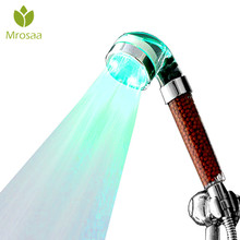 1 Pcs Bathroom Led Shower Head 2 Type LED Colorful Temperature Control 3 Colors Changing Anion Filter Water Saving Spray Nozzle