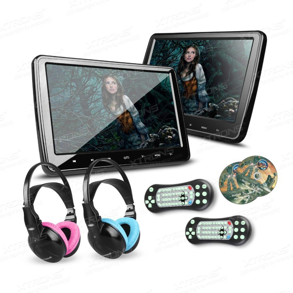 xtrons 101 universal car headrest dvd player with hdmi port hd screen 1024600 ir heasphones for children