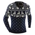 Новый 2016 Зимние Мужские Пуловеры V-образным Вырезом Рождество Свитер С Оленями Мода Печати Бренд Одежды Повседневная С Длинным Рукавом Свитера Мужчин