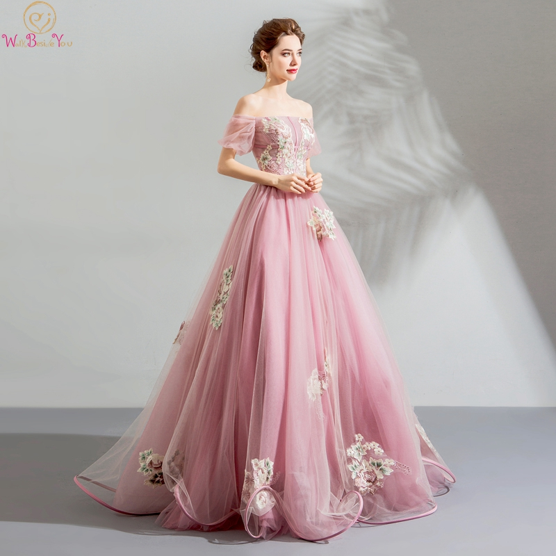 Walk Beside You Pink Prom Dresses Boat Neck Short Sleeves Pattern Appliques Tulle A line Off